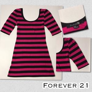 Hot Pink and Black Stripes Party or Casual Dress